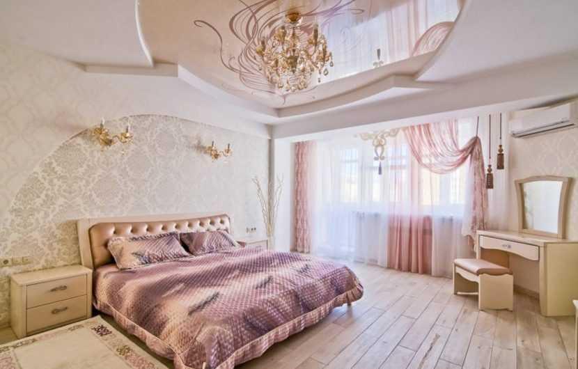 Потолок в спальне — тренды, модные идеи потолков и примеры оформления потолка в спальне (145 фото)